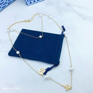 Tory Burch Pearl Classic Necklace Sweater Chain
